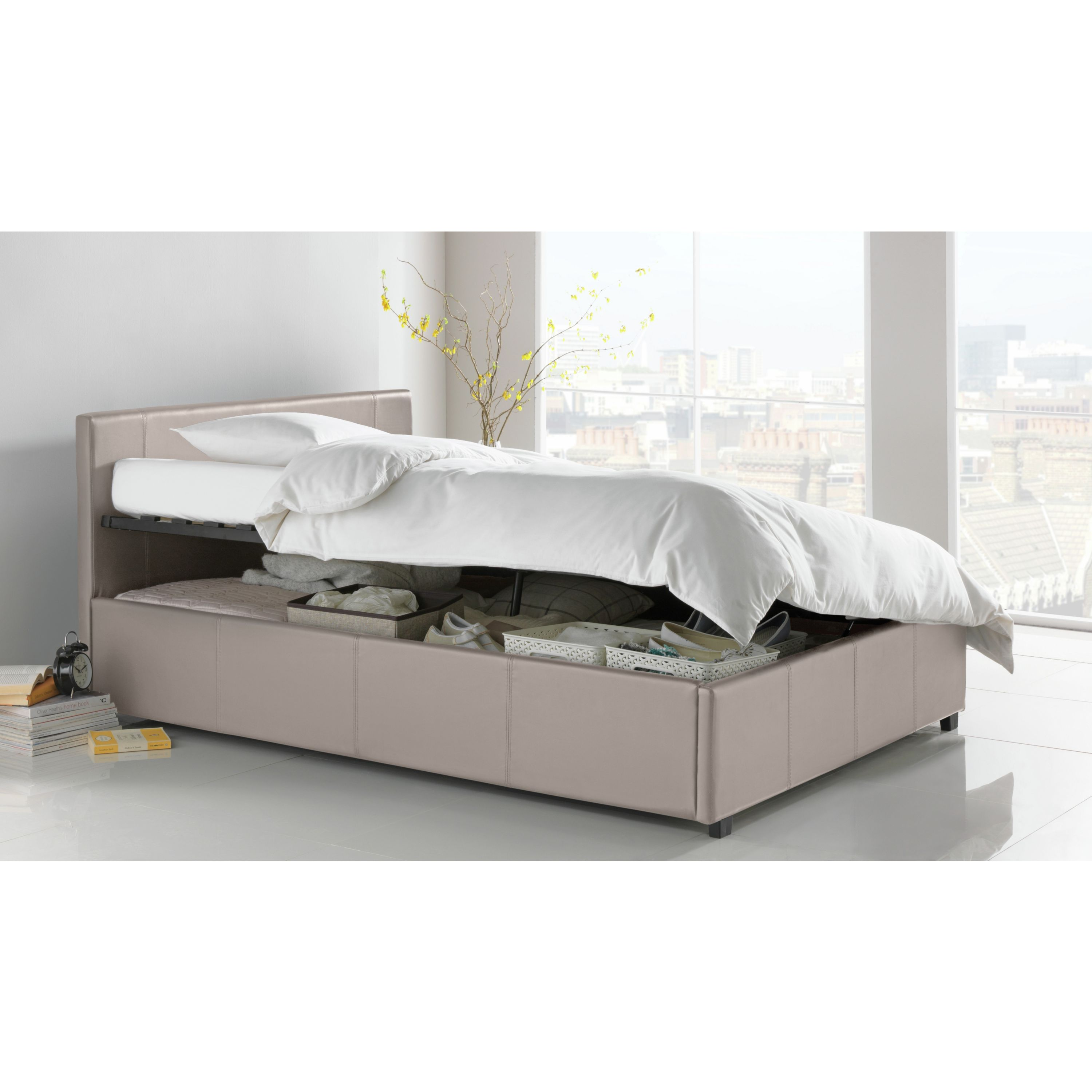 Hygena harcourt kingsize ottoman bed frame latte ebay Argos single divan beds